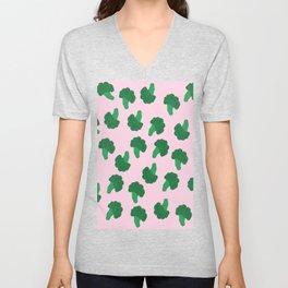 Cute Broccoli on Pink Background Unisex V-Neck