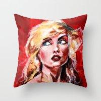 blondie Throw Pillows featuring Blondie by dawn schreiner