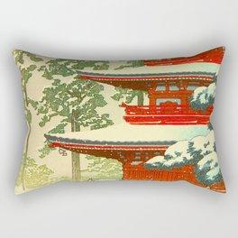 Vintage Japanese Woodblock Print Red Snow Pagoda Garden Rectangular Pillow