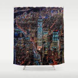 Lower Manhattan & Freedom Tower Landscape Painting by Jeanpaul Ferro Shower Curtain