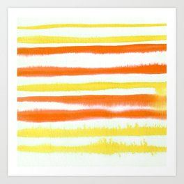 Orange & Yellow Watercolor Stripes Art Print