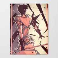 dragon age Canvas Prints featuring Dragon Age: Marian Hawke by Sara Cuervo