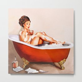 Pinup Girl Taking A Bath With A Drink Metal Print