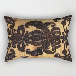 Wood Burnt Damask Rectangular Pillow