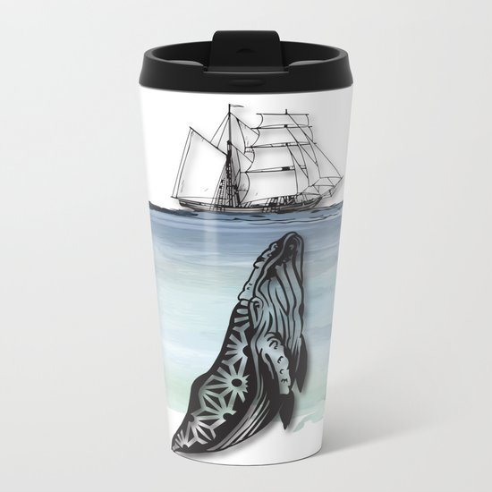 Whale And Boat Metal Travel Mug