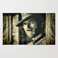 clint eastwood Area & Throw Rugs featuring Clint Eastwood - The Good, the Bad and the Ugly by Northern Light Images