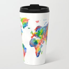 World map in rainbow Travel Mug