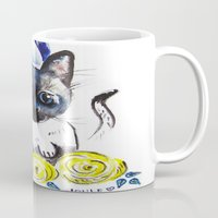 mew Mugs featuring Lily Mew by Sarah