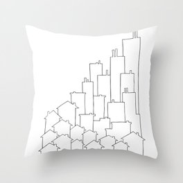 Black and White City Art - Line Drawing Throw Pillow