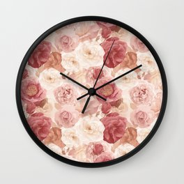 seamless   pattern with roses and leaves . Endless texture Wall Clock