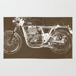 Royal Enfield motorcycle original circle art print and motorcycle quote Rug