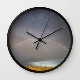 Rainbow after the Storm - Badlands National Park Wall Clock