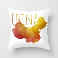 china Throw Pillows featuring China by Stephanie Wittenburg