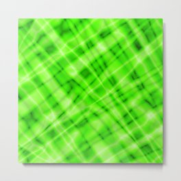 Pastel metal mesh with green intersecting diagonal lines and stripes. Metal Print