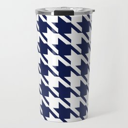 PreppyPatterns™ - Modern Houndstooth - navy blue and white Travel Mug