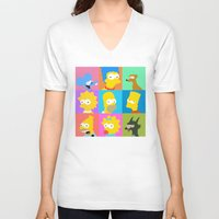 simpsons V-neck T-shirts featuring Simpsons by thev clothing