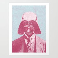 darth Art Prints featuring Darth Vader by NJ-Illustrations