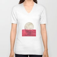 moonrise V-neck T-shirts featuring moonrise by sharon