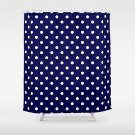Pattern Pois Blanc/Marine Shower Curtain