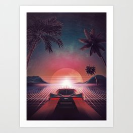 Outrun Classic Sunset Ride Art Print