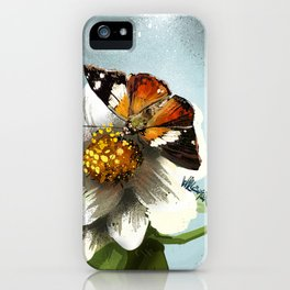 Butterfly on flower 12 iPhone Case