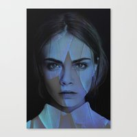 cara delevingne Canvas Prints featuring Cara Delevingne  by TRUANGLES