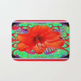 Italian  Style Design Red Amaryllis Abstract Bath Mat