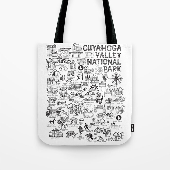 Cuyahoga Valley National Park Map Tote Bag