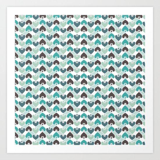 Sea of hearts pattern Art Print