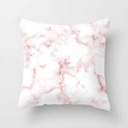 Pink Rose Gold Marble Natural Stone Gold Metallic Veining White Quartz Throw Pillow
