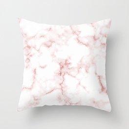 Pink Rose Gold Marble Natural Stone Gold Metallic Veining White Quartz Throw Pillow