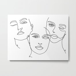 Faces III Line Art Metal Print