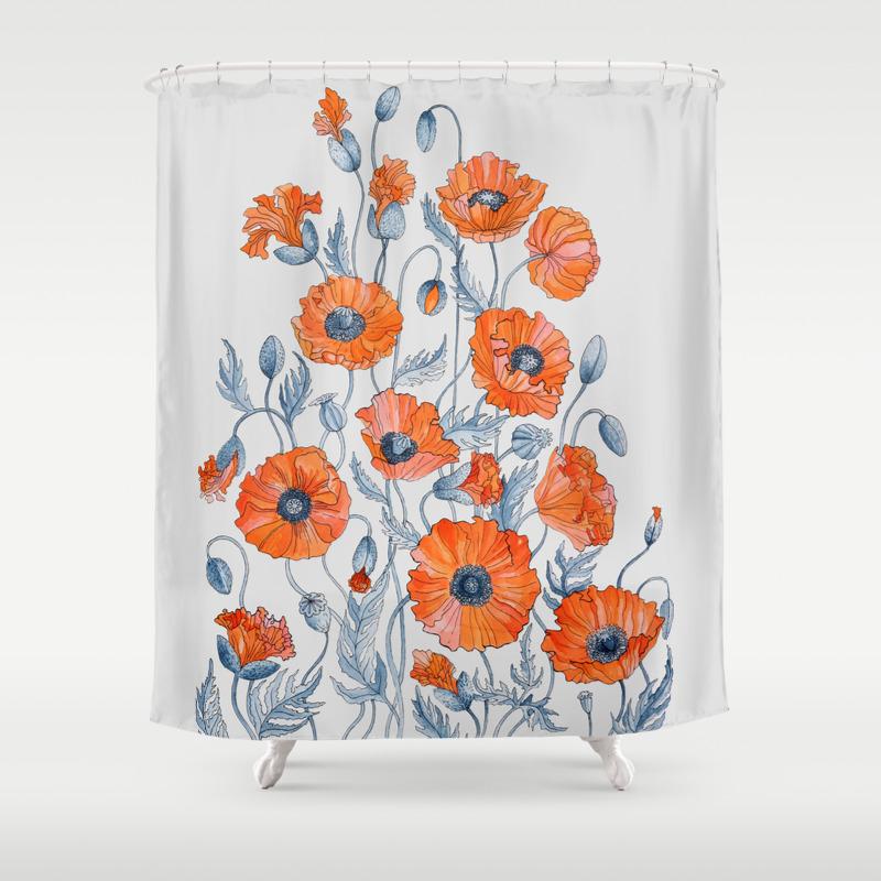 Orange Floral Shower Curtain.  Redpoppy Shower Curtains Society6