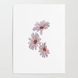Daisy botanical line illustration - Bud Poster