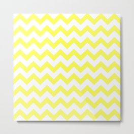 Chevron (Yellow & White Pattern) Metal Print