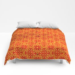 N67 - Yellow & Red Vintage Antique Geometric Traditional Moroccan Style. Comforters
