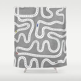 Grey Speed Racers Shower Curtain