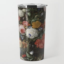 Jan Davidsz de Heem - Flower Still Life with a Bowl of Fruit and Oysters (c.1665) Travel Mug