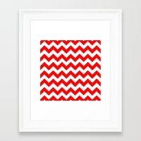 chevron Framed Art Prints featuring Chevron (Red/White) by 10813 Apparel
