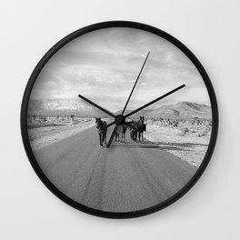 Spring Mountain Wild Horses Wall Clock