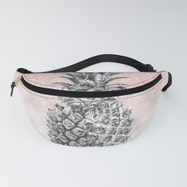 Silver pineapple ombre rose gold glitter and marble Fanny Pack