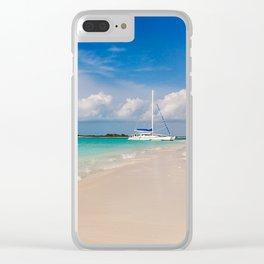 Catamaran on deserted white sand beach Clear iPhone Case