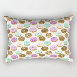 Donuts - junk food treat funny illustration with happy food face doughnuts pastry bakery Rectangular Pillow