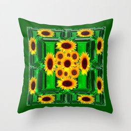 SPRING GREEN YELLOW FLOWERS  ART DECORATIVE  DESIGN Throw Pillow