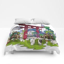 Torii night scene Comforters