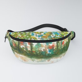 Silent Woods, Abstract Watercolors Landscape Art Fanny Pack