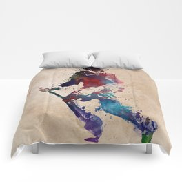 Lacrosse player art 3 Comforters