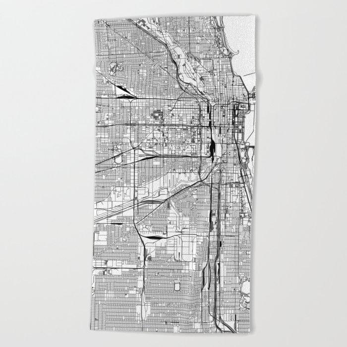 Chicago White Map Beach Towel