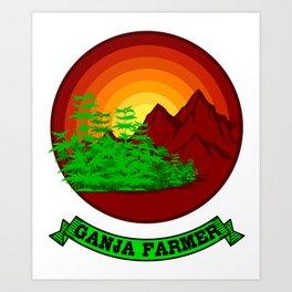 GANJA FARMER RETRO Marijuana Gifts For Stoner 420 Art Print