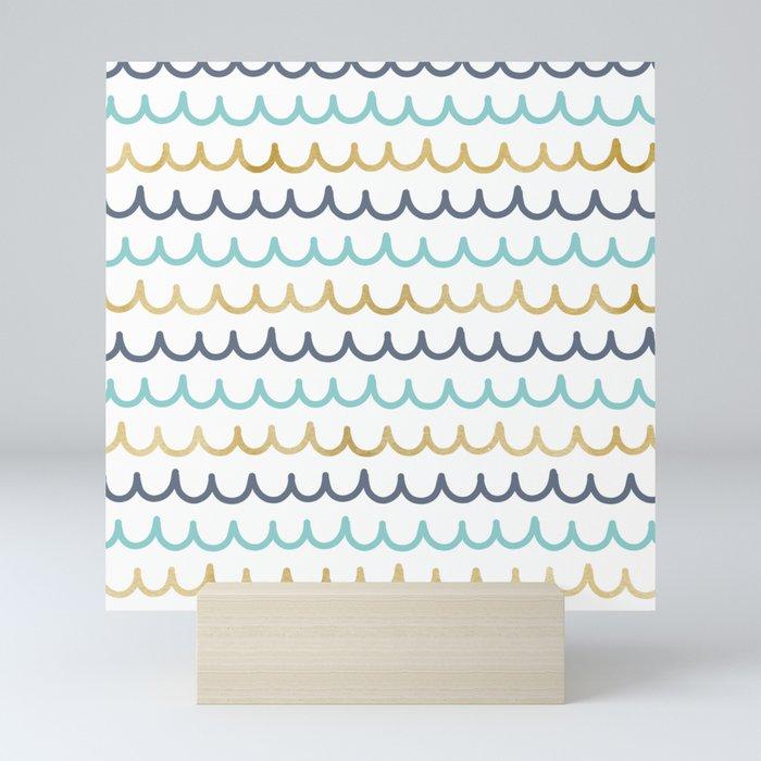 Golden Pastel Waves Mini Art Print